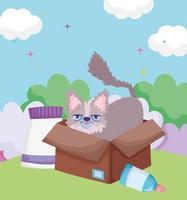 gatinho fofo em caixa de papelão com comida para animais de estimação ao ar livre vetor