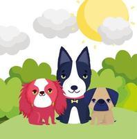 cachorrinhos sentados na grama paisagem cartoon animais de estimação