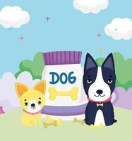 cães com coleira e embalagem de comida fora dos animais de estimação vetor