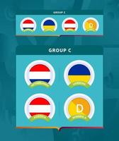 fase final do torneio de futebol 2020 agrupar um conjunto de distintivos vetor