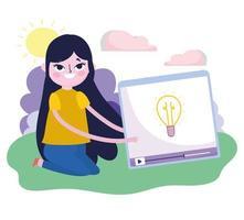 jovem mulher vídeo conteúdo criatividade mídia social vetor