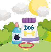 coleira de cachorro de pacote de comida e garrafa veterinária para animais de estimação vetor