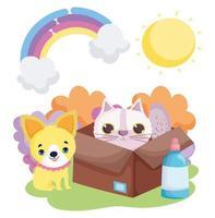 cão e gato na caixa natureza paisagem animais de estimação vetor