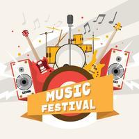 Cartaz alegre do festival de música vetor