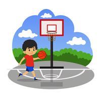 Crianças jogando basquete na quadra vetor