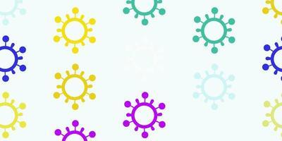 luz de fundo multicolorido com símbolos covid-19.