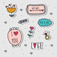 Conjunto de etiquetas de amor desenhadas à mão vetor