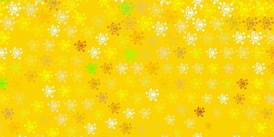 de fundo vector verde-claro e amarelo com símbolos covid-19.