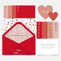 Cartão de dia dos namorados de vetor e Envelope
