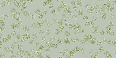 padrão de doodle de vetor verde claro com flores.