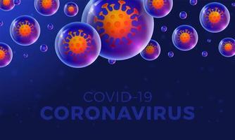 coronavírus futurista ou banner covid-19 vetor