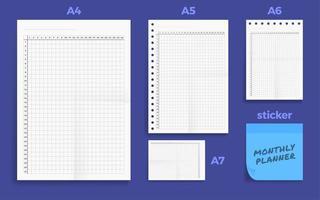 conjunto de quatro conjuntos de planejador mensal em branco padrão amassado