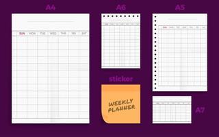 conjunto de quatro planejadores semanais padrão amassados