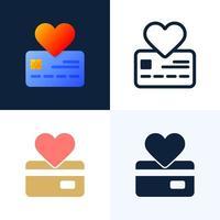 ilustração de estoque vetorial de sinal de coração e cartão de crédito vetor