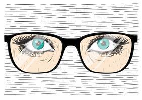 Vidros desenhados mão Vector com olho