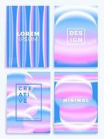 conjunto de pôsteres de ondas gradientes em azul e rosa