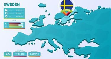 mapa isométrico da europa com destaque no país Suécia