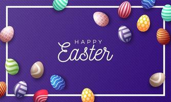 fundo de feriado de páscoa com 3d ovos pintados de páscoa