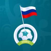 bandeira de vetor da Rússia presa a uma bola de futebol