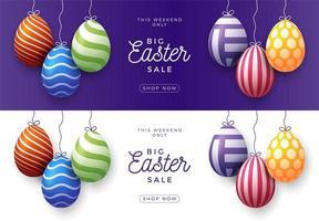 conjunto de banner horizontal de venda de ovo de páscoa vetor