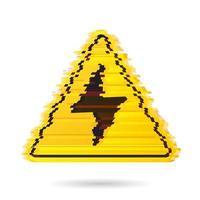 ícone de alta tensão com efeito de ruído ou falha digital vetor