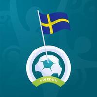 bandeira de vetor da Suécia fixada em uma bola de futebol