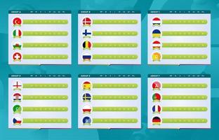 conjunto de grupos da fase final do torneio de futebol vetor