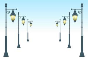 Ilustração em vetor lâmpada de rua vintage isolada no fundo branco