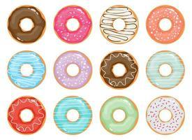 Ilustração em vetor coleção donuts isolada no fundo branco