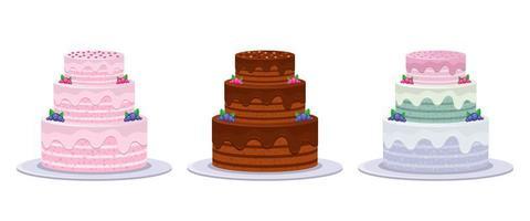 conjunto de bolo de aniversário vetor