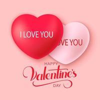 Feliz Dia dos Namorados fundo com corações de decoração vetor