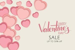 feliz dia dos namorados design de venda com corações cortados em papel em camadas vetor