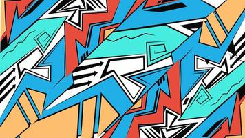 pano de fundo geométrico, estilo de desenho de graffiti, papel de parede, fundo brilhante futurista abstrato vetor