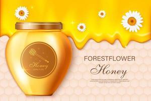 mel de fazenda. modelo de cartaz de anúncio com mel realista, fundo de embalagem de produtos agrícolas de alimentos orgânicos saudáveis. fazenda mel, comida doce orgânica, ilustração natural da apicultura vetor