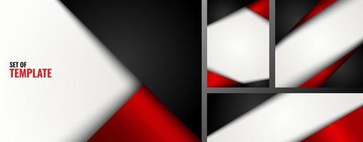 conjunto de modelo de triângulo vermelho e preto sobre fundo branco vetor