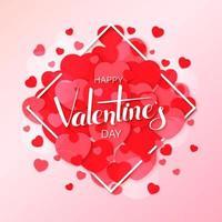 cartão de feliz dia dos namorados com corações sobrepostos em moldura de diamante vetor