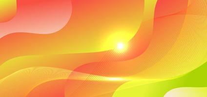 forma de onda gradiente verde e vermelho abstrato com raios de luz vetor