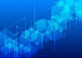 conceito futurista digital de tecnologia abstrata hexágonos 3d geométricos azuis com linhas no fundo da grade vetor