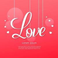feliz dia dos namorados pendurando texto de amor com corações vetor