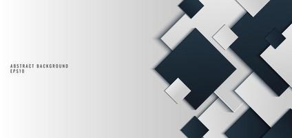 template banner web design fundo forma quadrada azul e branca com sombra vetor