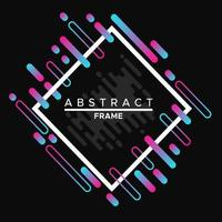 design de moldura, moldura branca dinâmica com formas geométricas abstratas coloridas em um fundo preto vetor