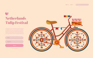 Página de destino do Festival de tulipas da Holanda, modelo de página da Web. vetor