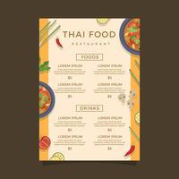 Molde do vetor do menu de alimentos da Tailândia