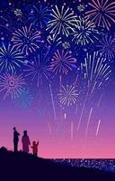 cena festiva de fogos de artifício com a família vetor