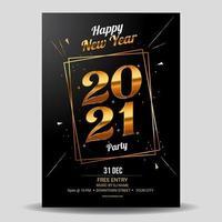 pôster extravagante de celebração de 2021 em ouro vetor