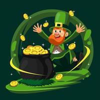 leprechaun feliz com barril de moedas vetor
