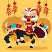 dança do leão no festival de ano novo chinês vetor