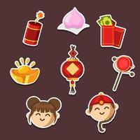 Conjunto de adesivos comemorando o feliz ano novo chinês vetor