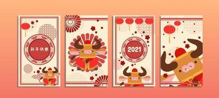 conjunto de cartão do zodíaco chinês boi dourado vetor