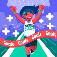 objetivos de estilo de vida saudável com corrida vetor